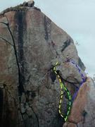 Climbers Praveen B and Girish, on P3, Khoday Neer, in the 90&#39;s. <br /> <br />P2 a): Blue <br />P2 b): Green <br />P2 c): Yellow