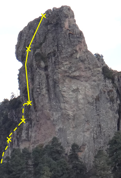The Direct Route on the North face of Las Ventanas, as seen from the summit of Fistol del Diablo. The dotted line indicates sections of the route that are not visible from this photo&@POUND@39@SEMICOLON@s perspective.<br> <br> Photo by Mauricio Herrera Cuadra.