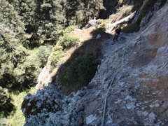 Rock Climbing Photo: Looking back to the big ledge atop pitch 2, before...