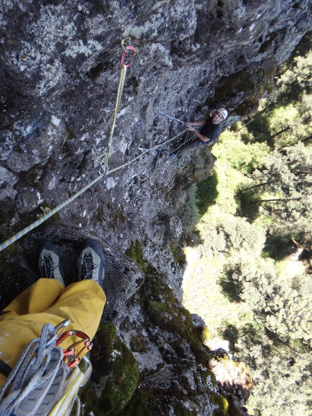 Rock Climbing Photo: Looking down to the belay atop pitch 3, a few mete...