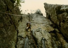 FA of Rain Dogs 5.10 near King's Pinnacle back in the 1980s.