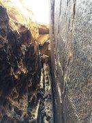 Chockstone Chimney downclimb/rappel