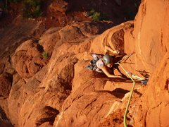 Rock Climbing Photo: Giselle cruising up to the crux roof during a deli...