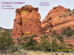 Rock Climbing Photo: Lookout Chimney topo.