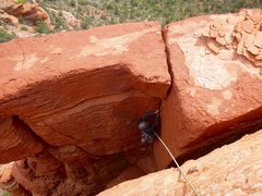 Rock Climbing Photo: Giselle jamming the tight handcrack at the top of ...
