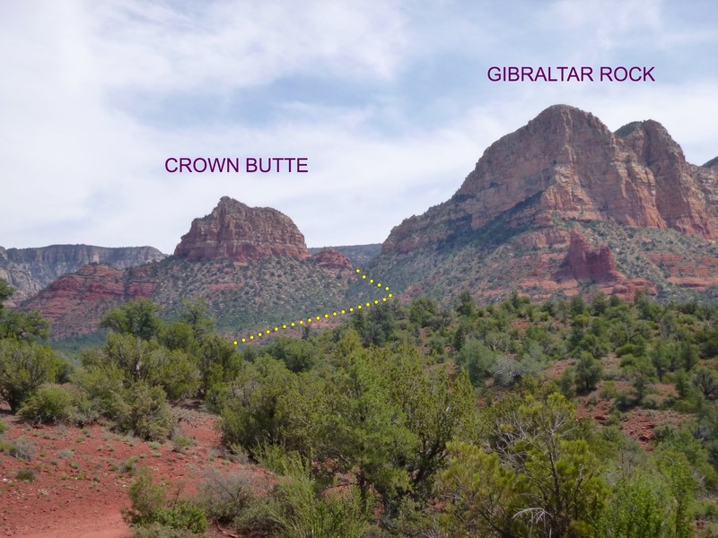 Looking east at Crown Butte (left) and Gibraltar Rock (right) from Little Horse Trailhead. Trail to saddle shown in yellow.