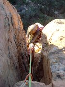 Rock Climbing Photo: Giselle at the crux roof on P4. Near the top of th...