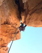Rock Climbing Photo: Leading out the big roof on P3 using the Floating ...