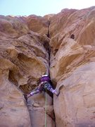 Rock Climbing Photo: Giselle getting stemmy below the crux on P2. This ...