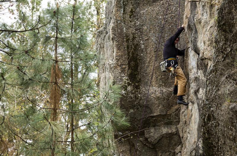 Rock Climbing Photo: Back Tree Crack at Minnehaha in Spokane, WA.