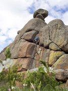 Rock Climbing Photo: Enjoying the easier climbing above the crux