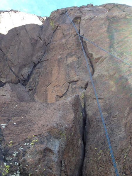 A rope on the route.  On the original hand crack, right crack, at the bottom.