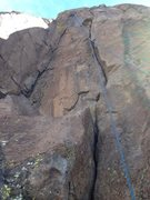 Rock Climbing Photo: A rope on the route.  On the original hand crack, ...