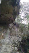 Rock Climbing Photo: View from the first anchor. Rappel setup is above ...