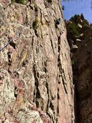 Rock Climbing Photo: Dave Holliday at the crux of Green Sleeves.