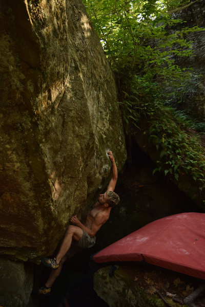Rock Climbing Photo: getting the crimp and emerging from the pit