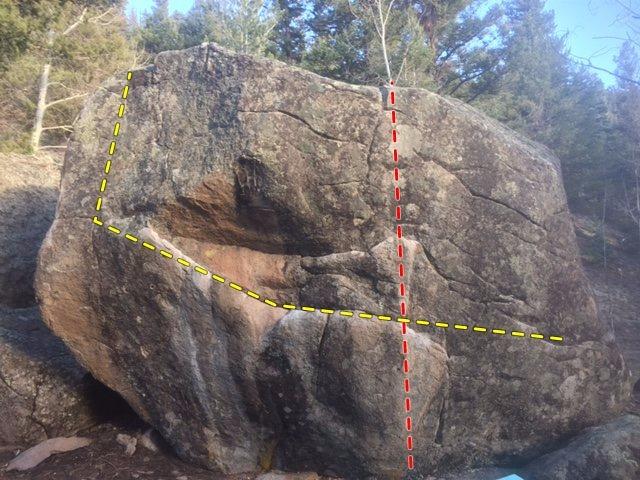 West Face Breakfast Boulder.<br> <br> V5 Traverse - yellow.<br> V3 - red.