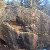 West Face Breakfast Boulder.<br> <br> V5 Traverse - yellow.<br> V3 - red.