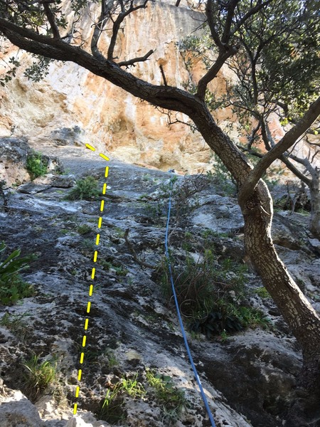 Rope is on Grey Slab Right.  Topo likes show this route