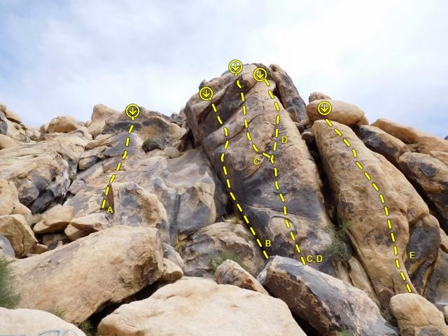 Dike Walk Wall, Keepers Cove<br> <br> A. Simon Says (5.9)<br> B. Chutes and Ladders (5.10d)<br> C. Dike Walk (5.10a)<br> D. Right of Dike (5.10a)<br> E. Marggie (5.10a)