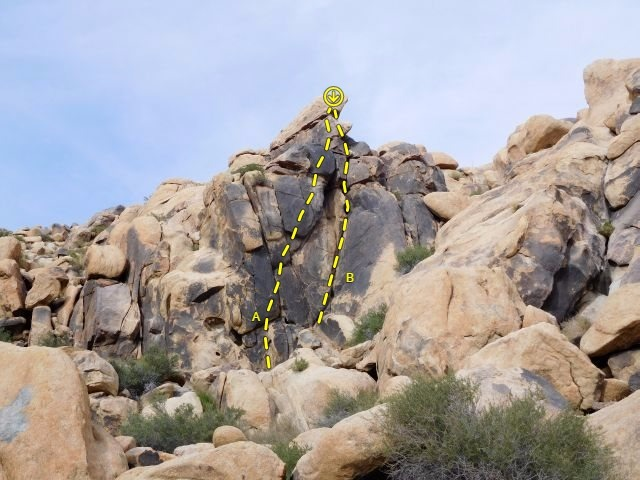Wildcard Wall, Keepers Cove<br> <br> A. Wildcard (5.11a)<br> B. Yellow Submarine (5.8)<br>