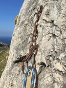 Rock Climbing Photo: The anchor of El Sant Crist.  I was very displease...