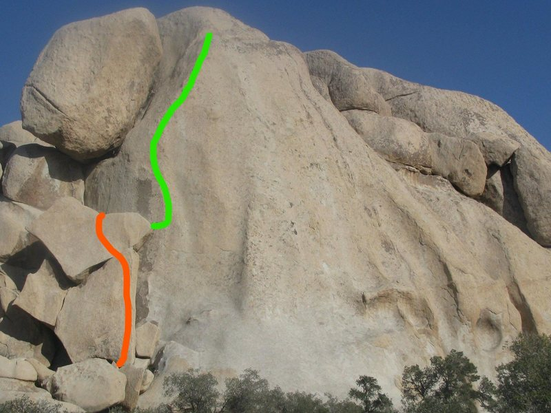 Flittering Fingers climbs up along the green line in the photo.