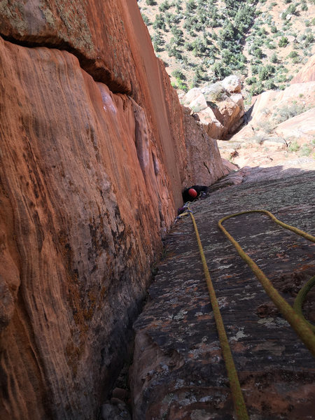 Belaying the top of the corner, looking at the C2 section