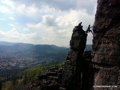 Rock Climbing Photo: Climber beginning the second pitch of Blockgrat (U...