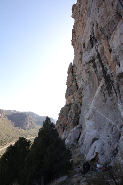 Rock Climbing Photo: Trying the route, the first new bolt can be seen w...