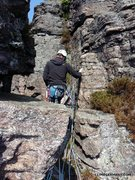 Rock Climbing Photo: Belay station at the top of pitch 2. Better to sit...