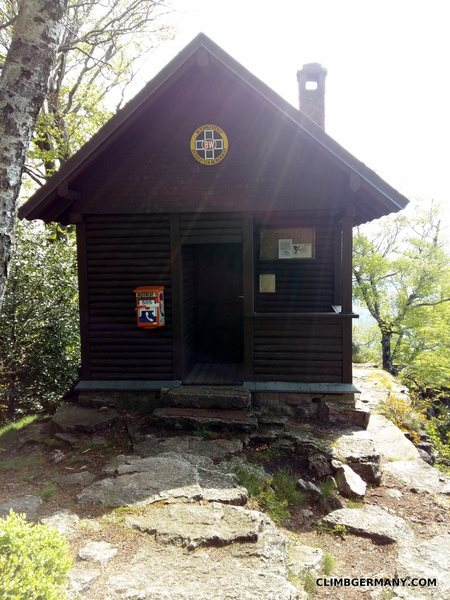 The Bergwachthuette - rescue hut- above Blockgrat which is manned on weekends.