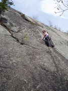 Rock Climbing Photo: S Matz on Saber, just above the opening moves (fla...
