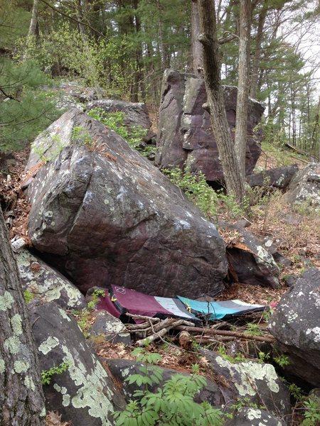Rock Climbing Photo: Roger Rabbit.  The Dumpster Boulder is seen right ...