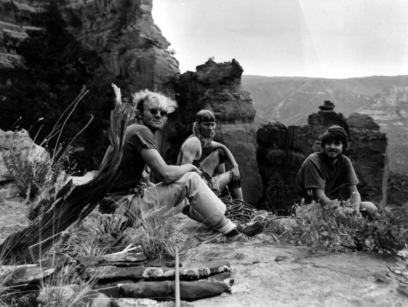 Here&@POUND@39@SEMICOLON@s a blast from the past- on the summit of Lilly Flower after the FA. By the way, Ross Hardwick and Bob Goforth did another route on the tower that day (climber&@POUND@39@SEMICOLON@s right of this route). L to R: Bob Goforth, Larry Coats, Ed Webster.