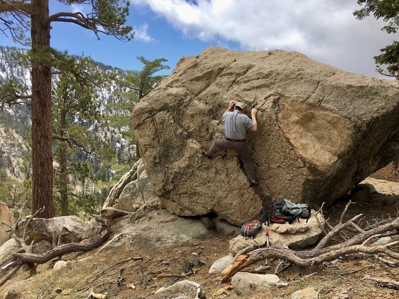 Perfect April weather this year for some decent bouldering on the SW ridge of Winston Peak.