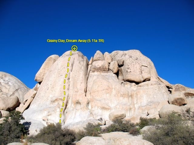 Rock Climbing Photo: Grainy Day, Dream Away (5.11a TR), Joshua Tree NP