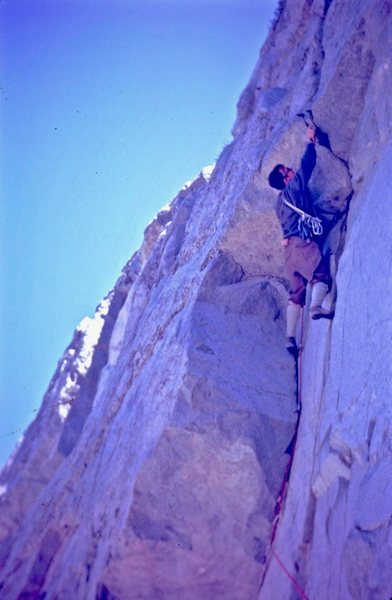 Rock Climbing Photo: Ray Palmer placing a piton on the roof of the firs...