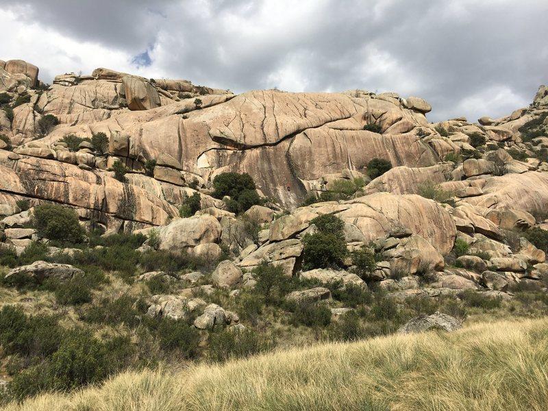 Rock Climbing Photo: Main face of Cancho de los Brezos from trail. Clim...
