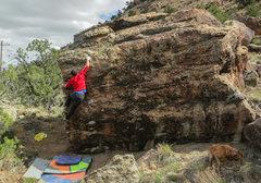 Rock Climbing Photo: Sticking a fun move on Foghorn Leghorn.