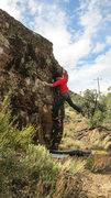 Rock Climbing Photo: Reaching the lip on Bugs Bunny.
