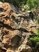 Rock Climbing Photo: Brad nearing the anchors on Thunderstruck.