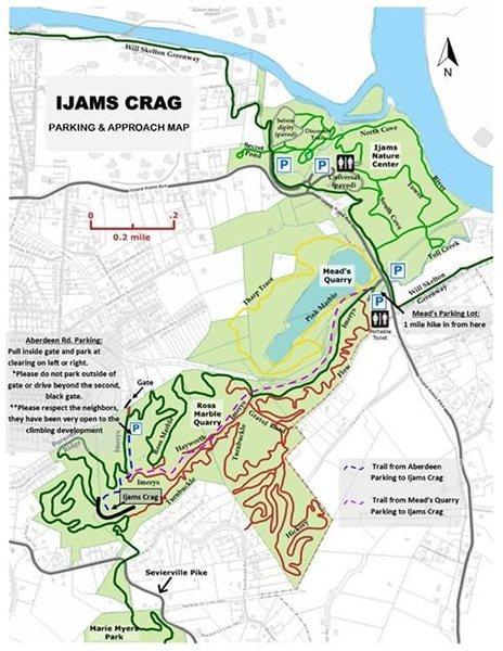 Ijams map with Ijam Crag parking.