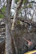 Rock Climbing Photo: Jacob locked in and reaching to the SP on Blood Mo...