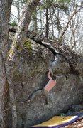 Rock Climbing Photo: Jacob latching the pinch