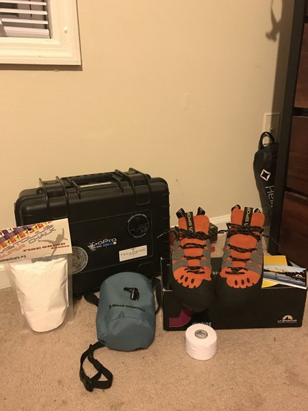 Got my go pro gear, shoes, chalk, chalk bag and tape. Ready to start some bouldering...