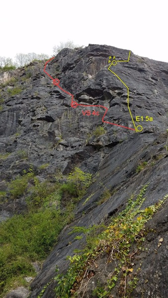 Close-up from the base of the Exhibition Slab. The E1 is Central Buttress and the VS is the Piton Route