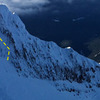 "Illumination Rock as seen from Leuthold Couloir.  ""Skylight"" route indicated."