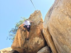 Rock Climbing Photo: Danny S. mid point on overhanging buckets