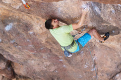 Rock Climbing Photo: Issac moving into the scoop at bolt 2
